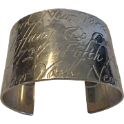 Tiffany and Co. Sterling Silver 5th Avenue NYC Etched Cuff