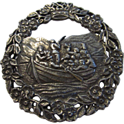 Sterling Silver Norwegian Pin Artist Signed of Seafarers
