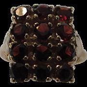 14 Karat Yellow Gold Garnet Ring in Classic Style