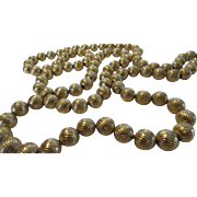 Vintage Crown Trifari Textured Goldtone Bead Necklace