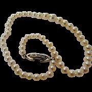 Platinum Diamond Petite Clasp With Tiny Graduated Cultured Pearls