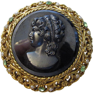 Vintage Art Brooch With Faux Hematite Cameo