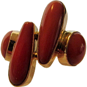 14 Karat Yellow Gold Red Coral Modernist Ring