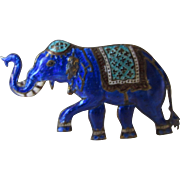 Sterling Silver Siam Enameled Elephant in Blue, Green and White