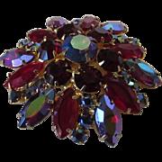 Vintage Red Aurora Borealis Crystal Pin