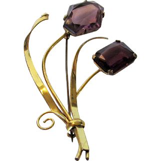 Sterling Silver Vintage Coro Pin With Unbacked Purple Stones in Floral Form