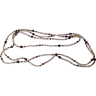 Pearl Necklace With 100 inches of White and Cranberry Freshwater Pearl Necklace