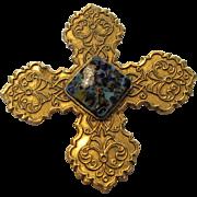 Vintage Designer Signed Maltese Cross Pin or Pendant with Art Glass Center