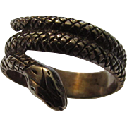 """Sterling Silver Snake Ring With Textured """"Snakeskin"""""""