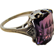 Ten Karat White Gold Amethyst Ring With Diamond Accents in Deco Style