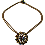 Vintage Double Strand Goldtone Necklace With Faux Jewel Clasp and Faux Jewel Central Medallion