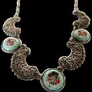 Vintage Micro Mosaic Silver Tone Necklace