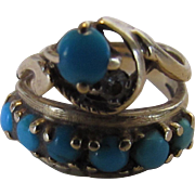 14 Karat Yellow Gold Unique Turquoise Double Band With Diamond Accent