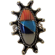 Sterling Silver Mexican Designer Gemstone Ring In Starburst Design Featuring Coral, Mother of Pearl, Lapis Lazuli and Turquoise