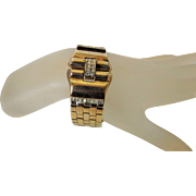 Vintage Crown Trifari Deco Style Goldtone Bracelet With Clear Crystal Accents