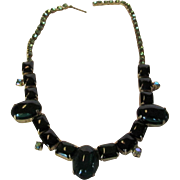 Vintage 1960's Necklace With Faux Emerald Cabochons With Aurora Borealis Crystal Accents