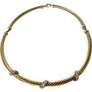 David Yurman 14 Karat Yellow Gold Cable Choker Enhanced With Diamond Accents