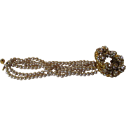 William De Lillo Runway Bracelet With Multi Strand Faux Pearls With Magnificent Accent Clasp