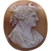 Cameo Roman Goddess Diana and Moon Design on Shell Ready for a Mount