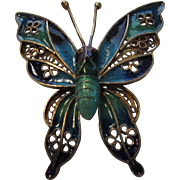 Vintage Cloisonne Butterfly Pin In Blue and Green Set in Goldtone Brass