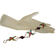 Sterling Silver Gem Cabochon Bracelet Featuring Amethyst, Rose Quartz and Turquoise