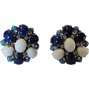 Arnold Scaasi Glass Bead Clip Earrings