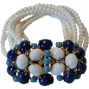 Scaasi Signed Glass Bead Bracelet With Fabulous Clasp in Blue and White