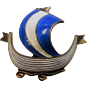 Sterling Silver Enameled Norway Boat Pin