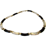 10 Karat Yellow Gold Onyx and Mother of Pearl Segment Necklace