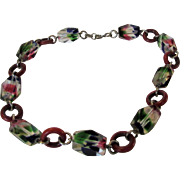 Vintage Deco Glass Bead Choker Necklace in Bright Colors and Unique Design