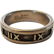 Tiffany and Co. Sterling Roman Numeral Ring Dated 1995