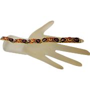 Vintage Micro Mosaic Segment Brass Bracelet