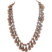 Vintage Mid Century Pale Pink Glass Beads  Necklace Enhanced with Crystal Dividers