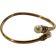 10 Karat Yellow Gold Bangle With Cultured Pearl End Points