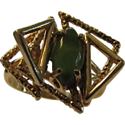 14 Karat Yellow Gold Marquis Cabochon Jade Modernist Ring