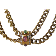 Givenchy Goldtone Necklace With Central Focal Enhanced With Glass Cabochons