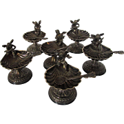 Sterling Silver Cherub Band of Six Individual Salts and Sterling Silver Spoons