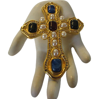 Vintage Designer Signed Cross Pin/Pendant Adorned With Poured Glass Cabochons on Goldtone