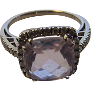 14 Karat White Gold Morganite Ring With Diamond Halo and Diamond Accented Band