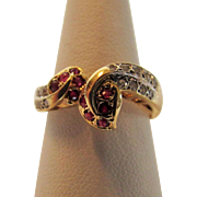 14 Karat Yellow Gold Snake Ring With Ruby and Diamond
