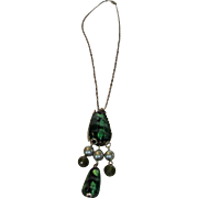Vintage Necklace With Fabulous Blown Glass Pendant And Lovely Floral Clasp