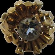 14 Karat Yellow Gold Retro Aquamarine Ring