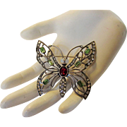 Sterling Silver Butterfly Pin With a Variety of Colored Crystals