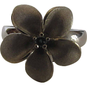 14 Karat White Gold Blue Diamond Ring In Flower Form