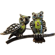 Sterling Silver Enameled Owls Enhanced With Marcasite by Alice Caviness