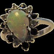 14 Karat White Gold Opal, Sapphire and Diamond Ring