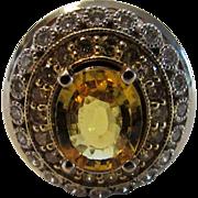 14 Karat White Gold Yellow Sapphire and Diamond Ring