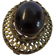 Vintage  Brass Pin With Dark Glass Center and Original C Clasp