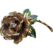 England's Rose Gold Tone Flower Pin With Green Enamelled Leaves