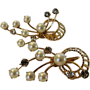 Vintage Emmons Exceptional Clip Earrings With Faux Pearls and Faux Diamonds